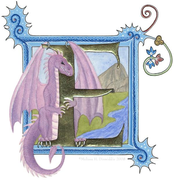 Dragon E Illuminated Initial