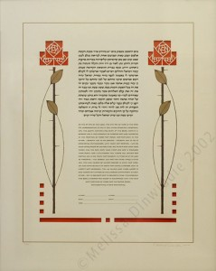 Arts & Crafts Roses Ketubah (showing included red backing paper behind lasercutting)