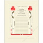 Arts & Crafts Roses Quaker Wedding Certificate