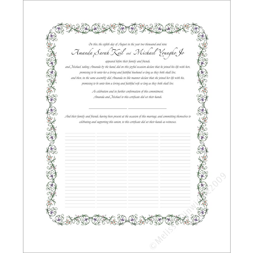 Quaker Wedding Certificates For Your Wedding
