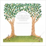 Twin Trees (White) Quaker Wedding Certificate